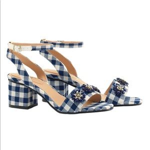 Shoes - Blue Gingham Heels w. Floral Embellishments